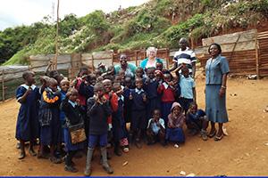 Children in schoolyard.