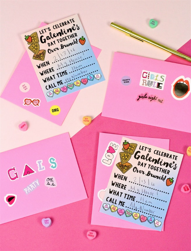 Free Printable Galentine\u0027s Day Brunch Invitations! ⋆ Brite and Bubbly