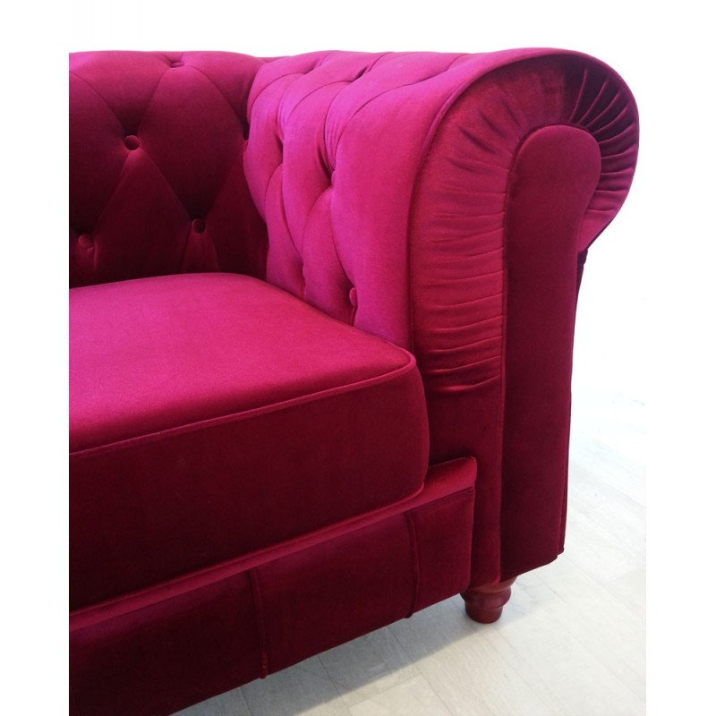 Canapé Chesterfield Velours 3 Places Canape 3 Places Chesterfield Velours Rouge Pas Cher