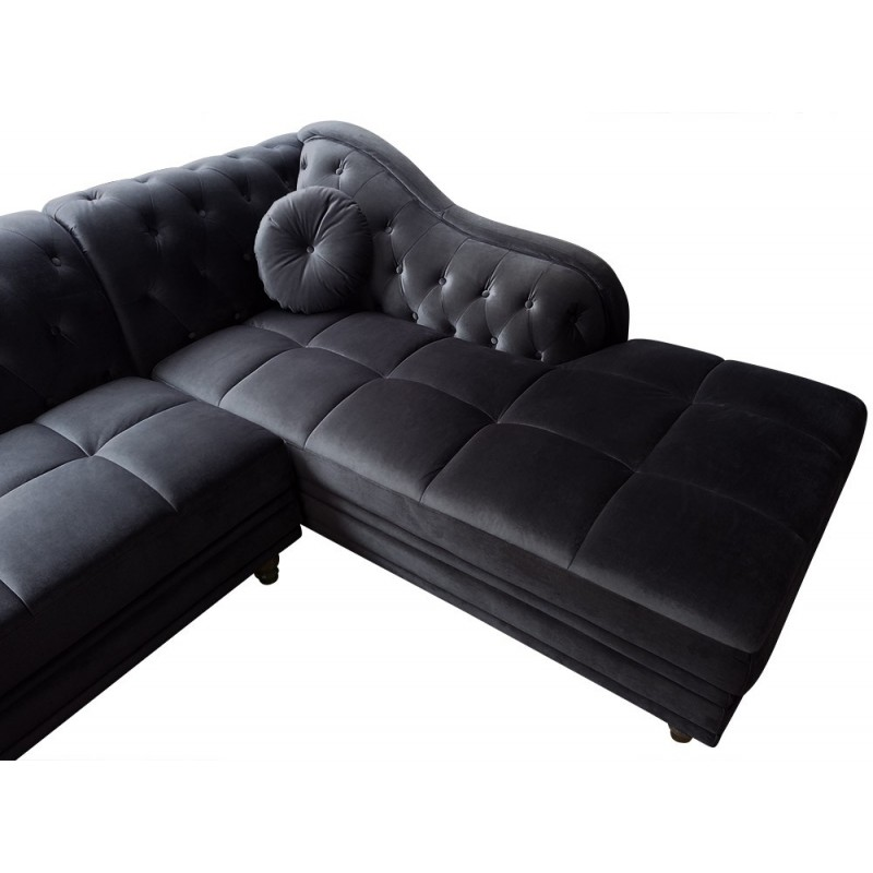 Chesterfield Convertible 2 Places Canapé D'angle Brittish Velours Noir Style Chesterfield