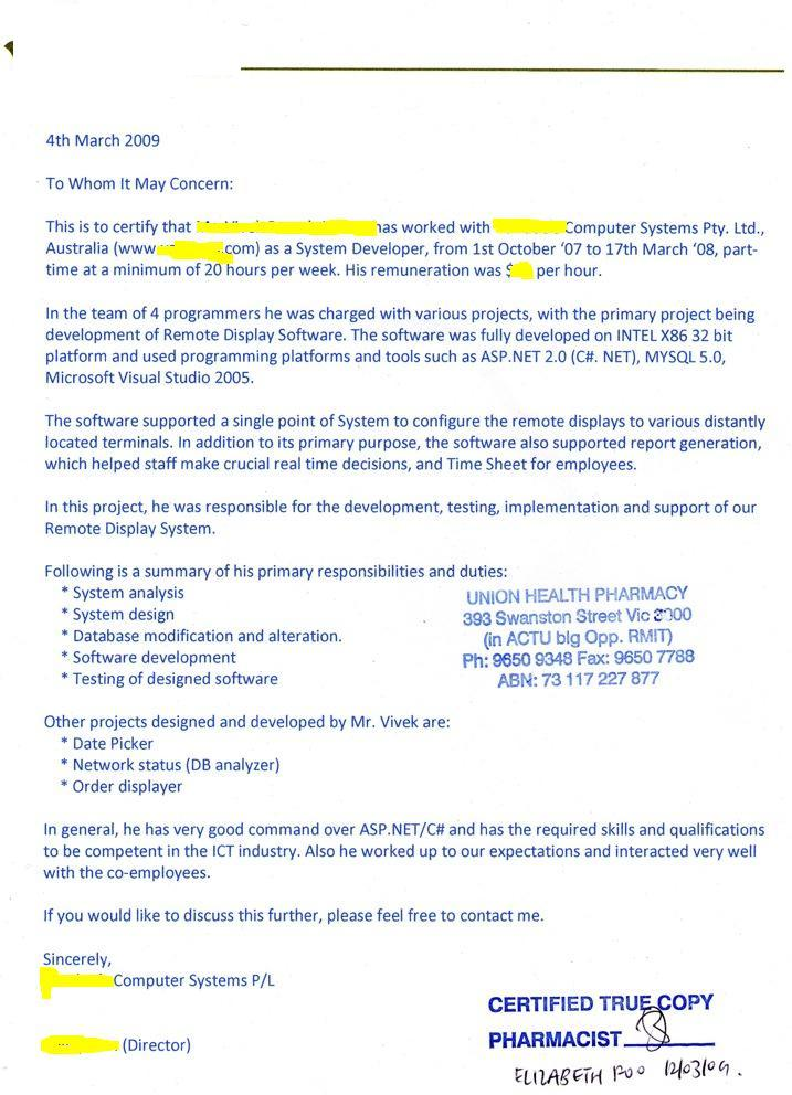 Format Of Reference Letter For Immigration | Sample Customer ...