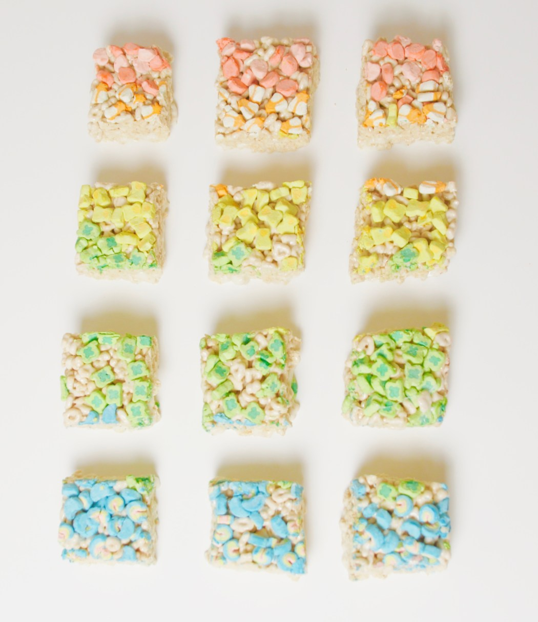 Luck Charms Marshmallow Treats mallow rainbow color gradient st. patrick's day dessert britney termale lifestyle blog dessert recipe