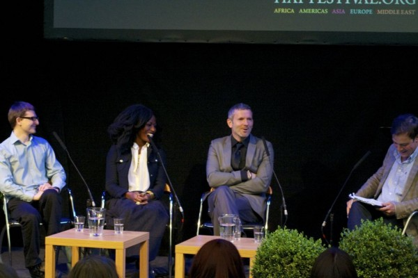 Taiye Selasi alongside Kevin Maher, Gavin Extence, and Waterstone's Chris White at a Hay Festival event.