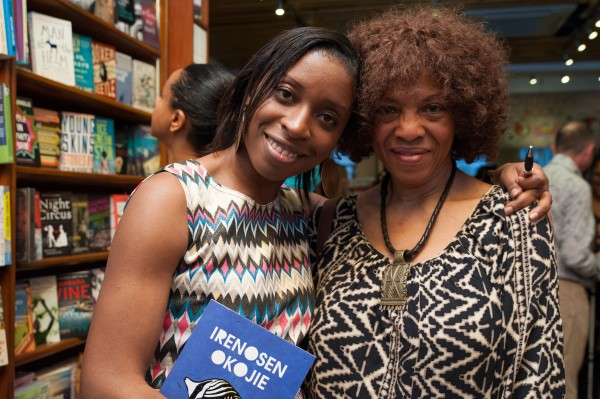Irenosen Okojie with Margaret Busby (London's first black woman publisher and co-founder of Alison & Busby publishers)