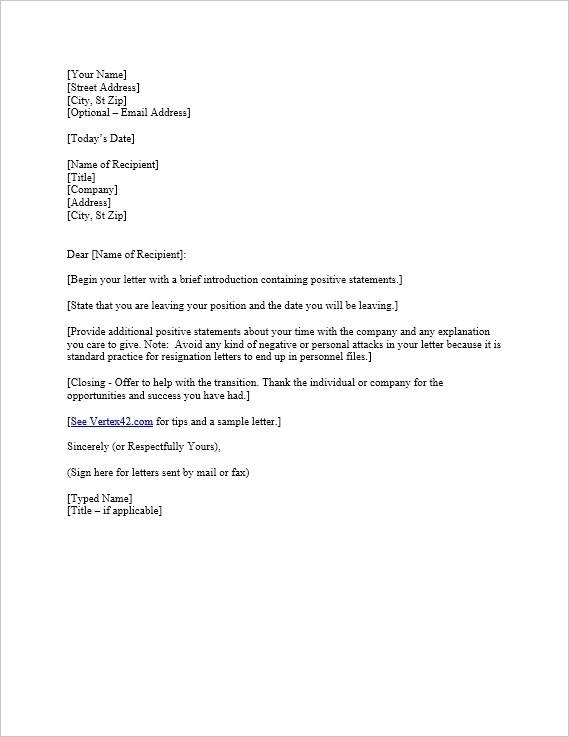 Example Resignation Letter brittney taylor - letter of resignation examples