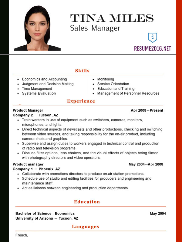 most used cv template
