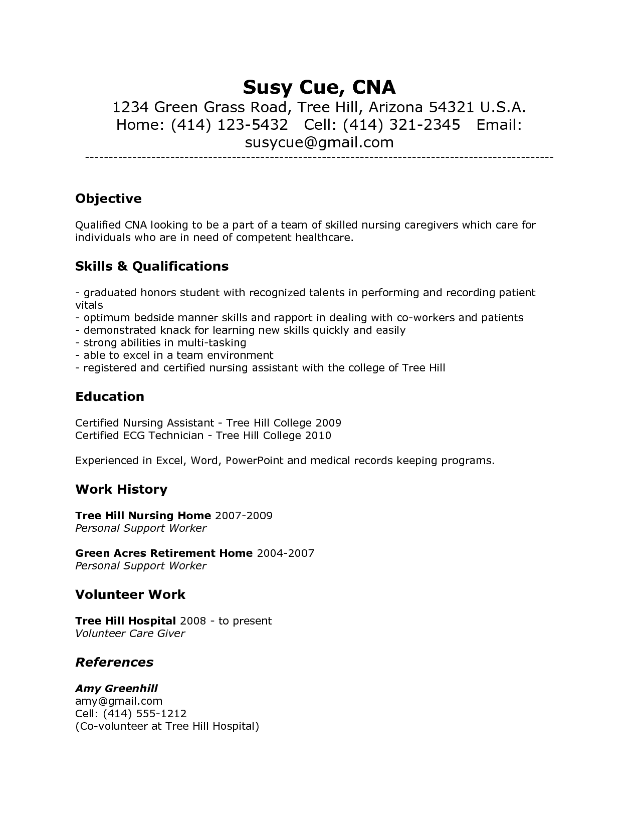 cna resume with no experience