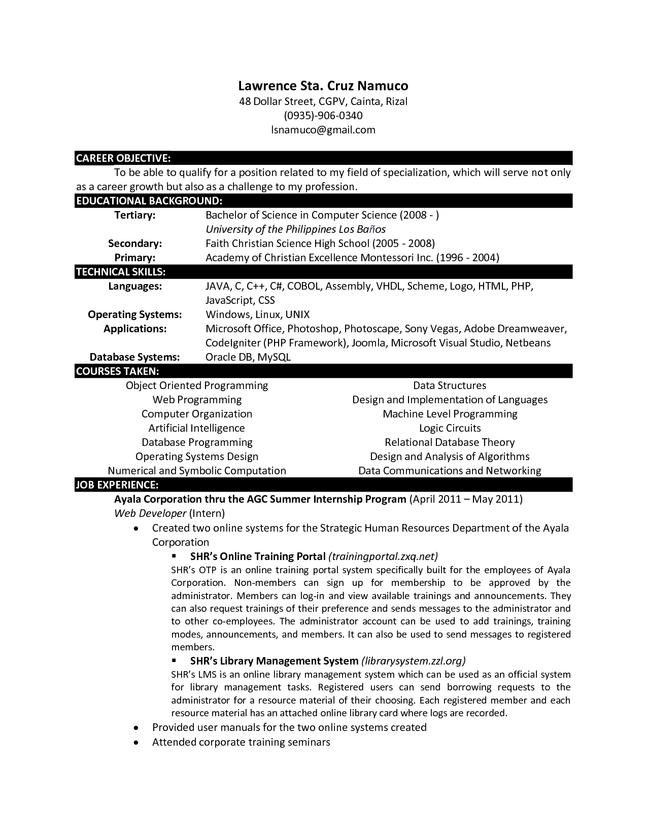 computer science new grad resume examples