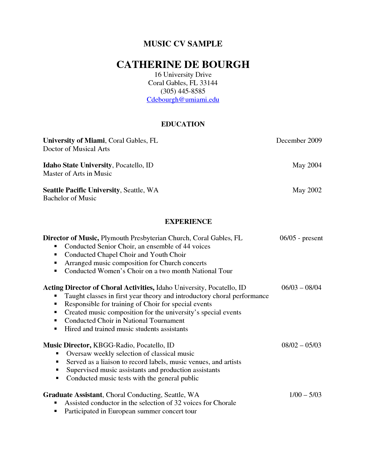 resume musician examples