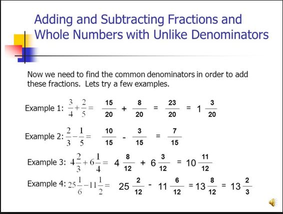 Objective 66 Multiply Divide Add Subtract Fractions