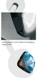 8mm Rhinestone Ball of XJN in the area of bonding 35 fold magnification