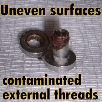 Contaminated externally threaded eyelet