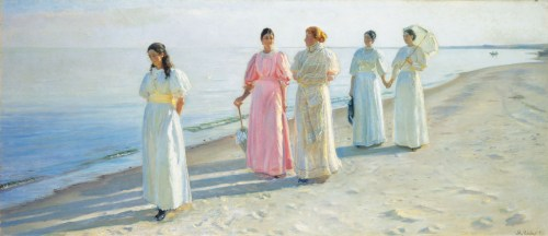 Michael Ancher, A stroll on the beach, 1896, Oil on canvas, 27 ⅛ x 63 ⅜ in.; Skagens Museum