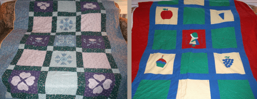 Quilts that Laura received for her Bat Mitzvah (left) and at birth