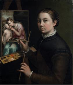 Sofonisba Anguissola (Cremona, ca. 1532–Palermo, 1625), Self-Portrait at the Easel, 1556; Oil on canvas, 26 × 22 3/8 in.; Muzeum-Zamek, Łańcut; inv. 916MT