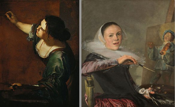 Left: Artemisia Gentileschi, Self-Portrait as the Allegory of Painting, 1638–39; Oil on canvas, 38 x 29 in.; Royal Collection; Right: Judith Leyster, Self-Portrait, c. 1630; Oil on canvas, 29.4 × 25.6 in.; National Gallery of Art