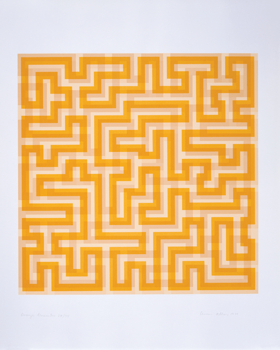 Anni Albers, Orange Meander, 1970; Paper and ink, 28 x 24 in.; Museum of Arts and Design, Gift of the artist, through the American Craft Council, 1982; Photo credit Ed Watkins
