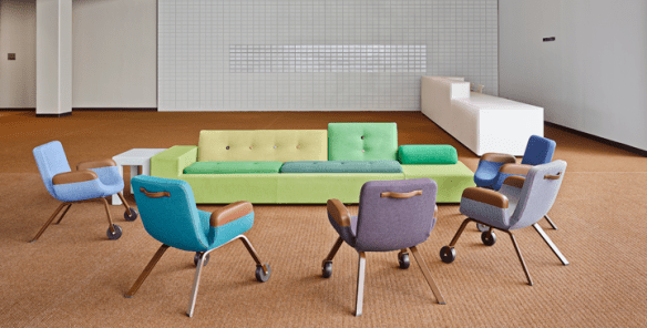 Hella Jongerius (manufactured by Vitra), Polder Sofa XL, polyurethane foam, polyester, and textile, 30 x 1/2 x 115 1/4 x 39 1/2 in.; Photo by Frank Oudeman, courtesy of Vitra