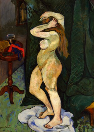 Suzanne Valadon, Nude Arranging Her Hair, ca. 1916; Oil on canvas board, 41 ¼ x 29 ⅝ in.; Gift of Wallace and Wilhelmina Holladay