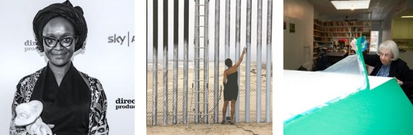 """Left to right: Lynette Yiadom-Boakye wins a South Bank Award; Ana Teresa Fernandez paints a """"window"""" in the U.S.-Mexico border fence; and Carmen Herrera talks about her career"""