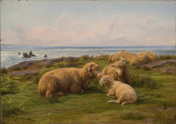 Rosa Bonheur, Sheep by the Sea, 1865; Oil on cradled panel, 12 3/4 x 18 in.; Gift of Wallace and Wilhelmina Holladay