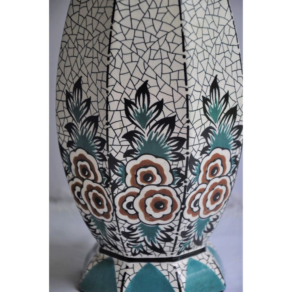 Deco Quimper Period Art Deco Floral Pattern Ceramic Table Lamp French 1920