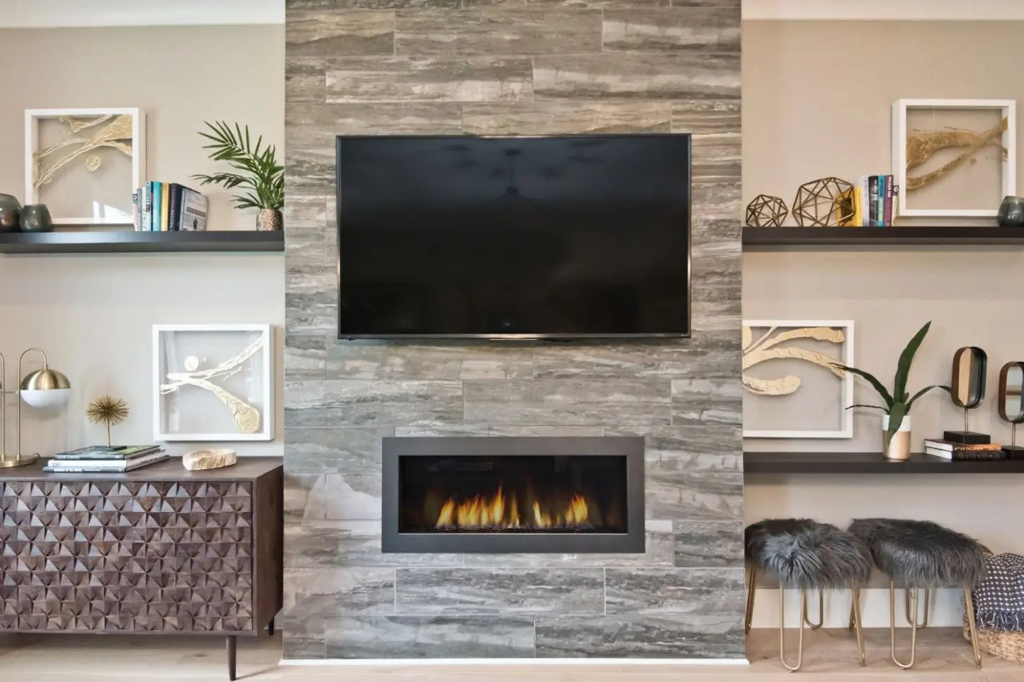 Fireplaces With Stone Surrounding Warm Your Home With Fireplace Decor Brock Built