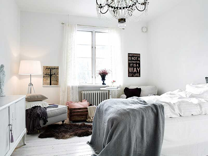 Small Space: Chandelier Bedroom
