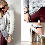 The Style Visitor in burgundy pants and silver platforms.