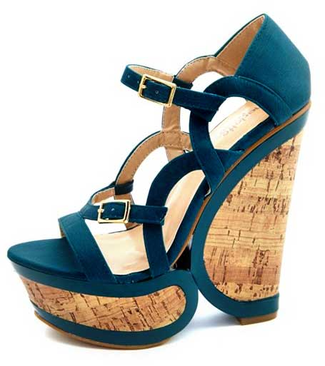 Strappy Cutout Cork Wedge Sandals