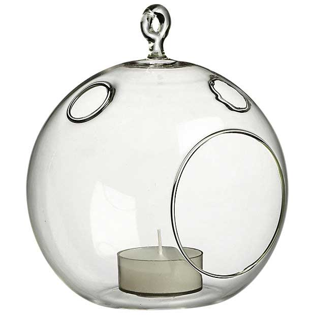 Whirly Glass Hanging Candle Holder - Outdoor/indoor