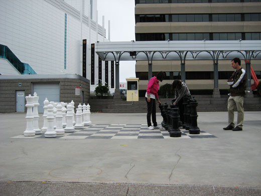 Giant Chess pieces at Charles Clark Square in Windsor, Ontario