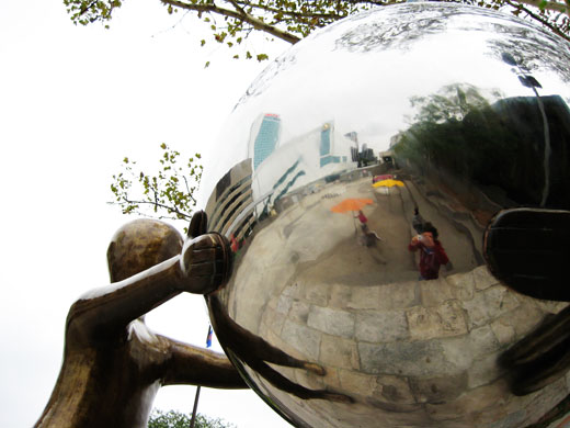 Giant mirrored ball at Charles Clark Square in Windsor, Ontario