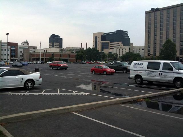 One of Louisville's countless, mostly-empty parking lots. (Erik Weber)