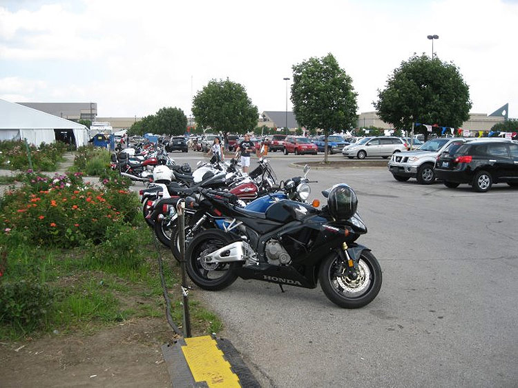 Motorcycle parking at the fairgrounds. (Courtesy Bicycling for Louisville)