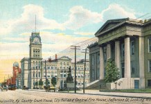 Three Individual Landmarks: Metro Hall, City Hall, and Fire Station #2. (BS Postcard Archive)