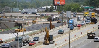 Construction of the boondoggle Ohio River Bridges Project tears through Downtown Louisville. (Courtesy ORBP)