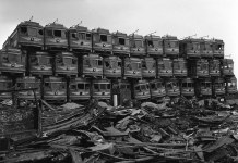 A stack of trolleys from Los Angeles at the scrapyard. (Courtesy Wikimedia Commons)