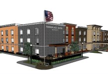 Rendering of the Jeffersonville TownPlace Suites sans retail. (Courtesy ARC / Dora Hospitality)