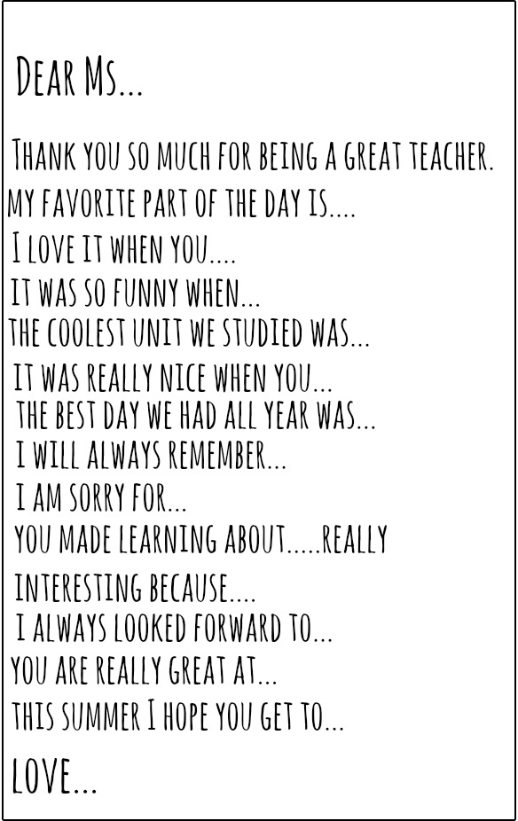 Teacher Thank You Note Prompt Brooke Romney Writes - thank you note