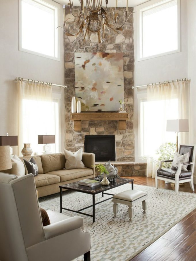 Arranging furniture with a corner fireplace brooklyn for Decorate my living room