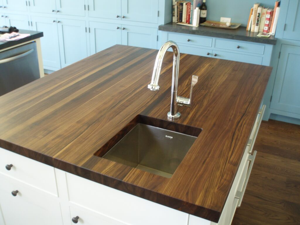 Kitchen Island Butcher Block Tops Edge Grain Wood Countertops Brooks Custom