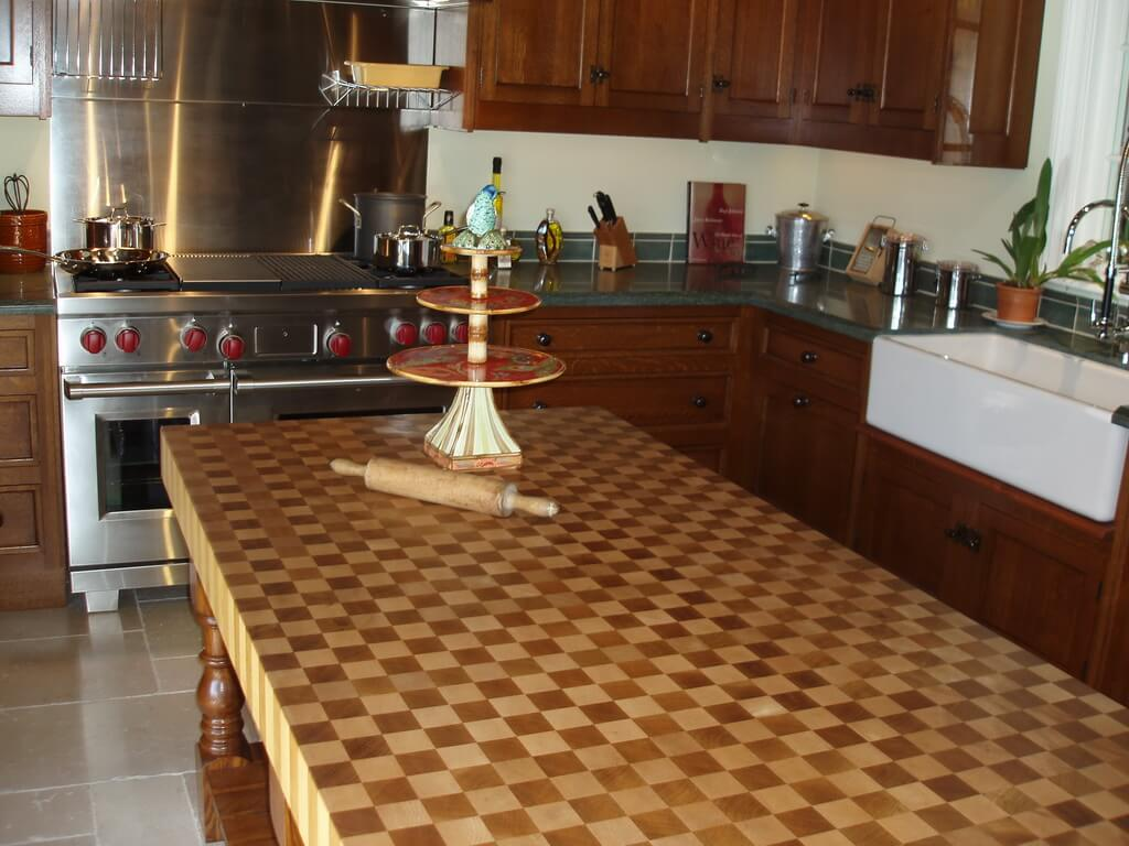 Kitchen Island Butcher Patterned End Grain Wood Countertops - Brooks Custom