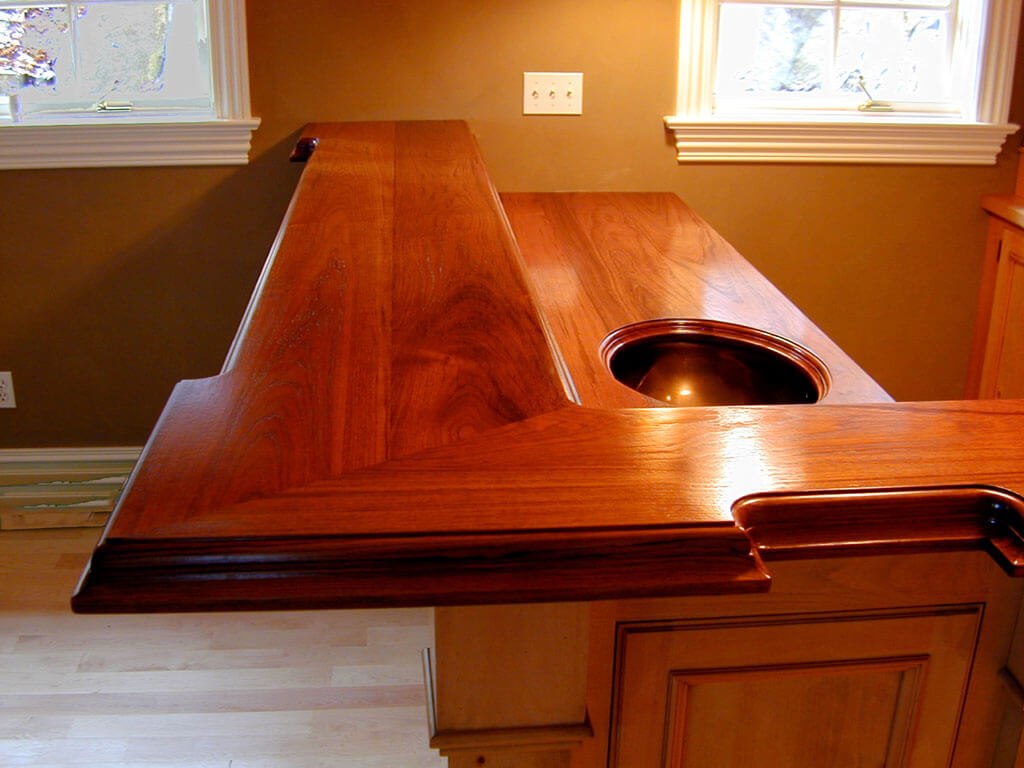 How To Waterproof Wood Countertop Cherry Wide Plank Wood Lower And Upper Bartop Brooks Custom