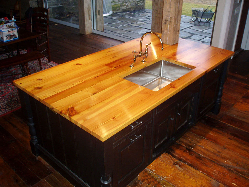 How To Waterproof Wood Countertop Antique Heart Pine Kitchen Island Countertop Brooks Custom