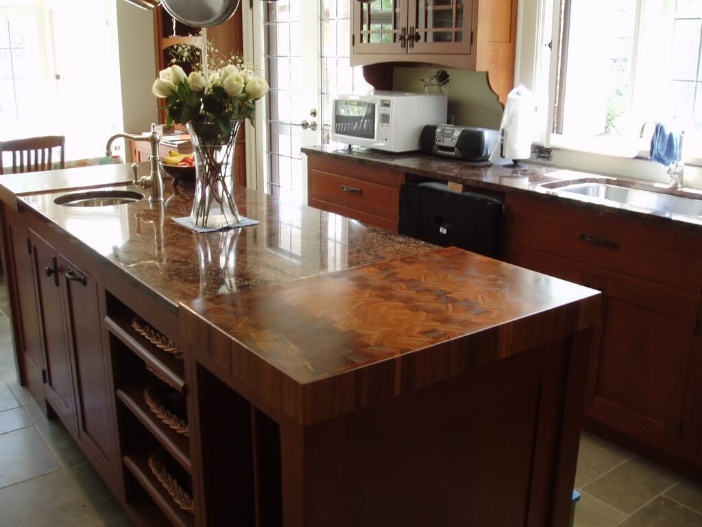 Kitchen Island Butcher Block Tops End Grain Wood Countertops Brooks Custom
