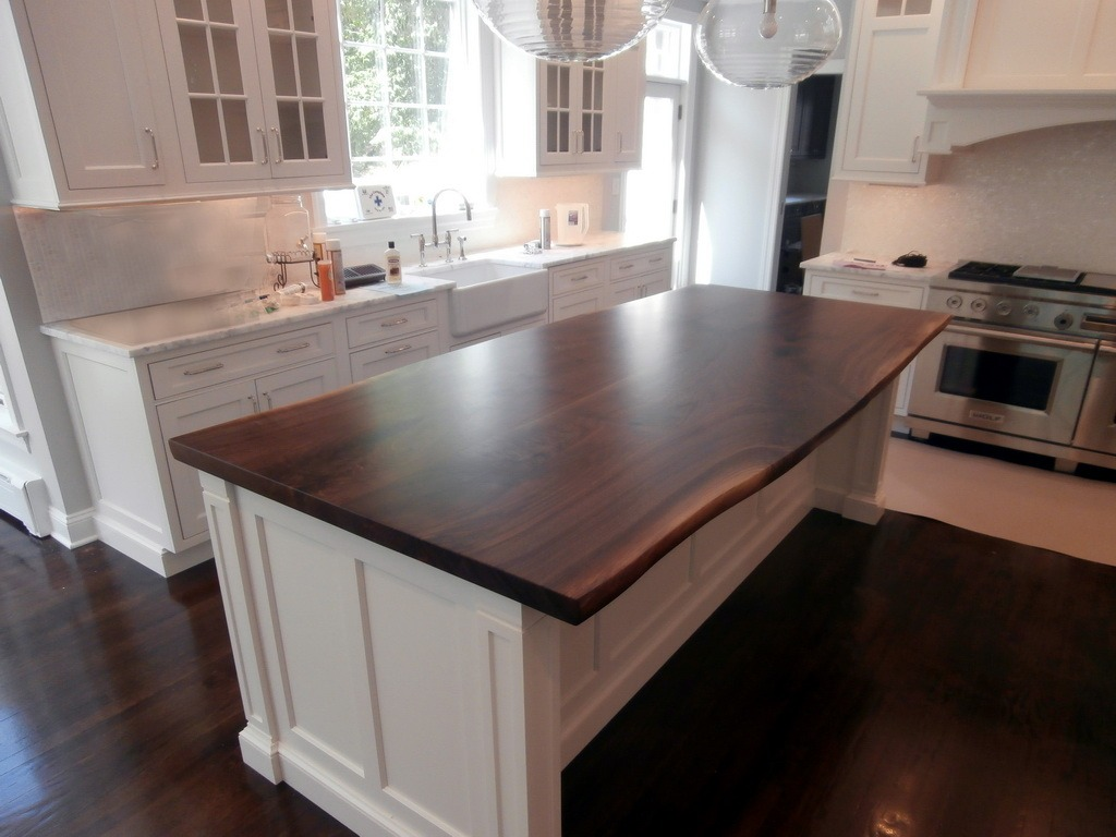 Wood Island Tops Kitchens Live Edge Wood Countertops - Brooks Custom