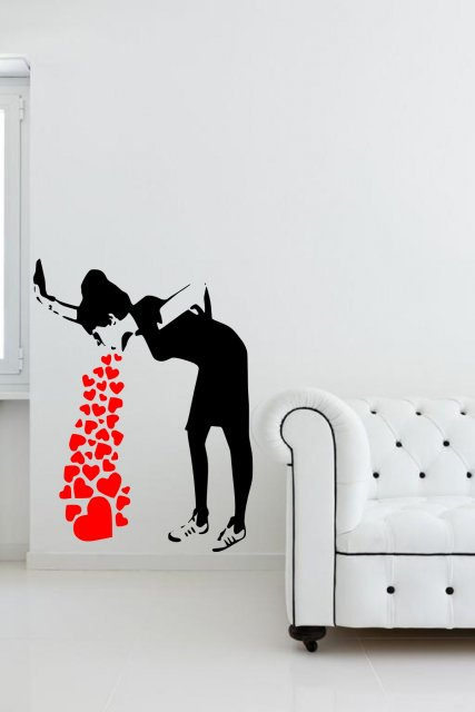Funny Baby Girl Wallpaper Banksy Love Sick Iconic Graffiti Wall Sticker Wall