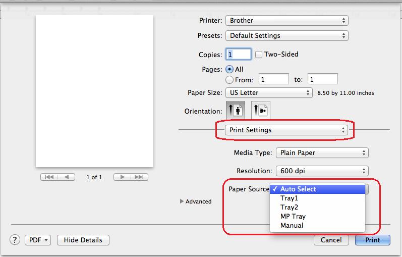 How do I automatically print a document that has different paper sizes?