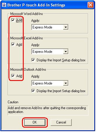 How do I use the Ptouch Add-Ins in MS Office 2010/2013 Excel/Outlook